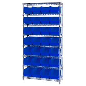 Chrome Wire Shelving With 28 Giant Plastic Stacking Bins Blue, 36x14x74