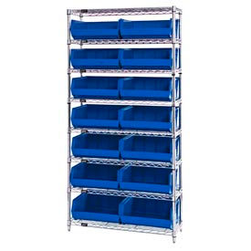 Chrome Wire Shelving With 14 Giant Plastic Stacking Bins Blue, 36x14x74