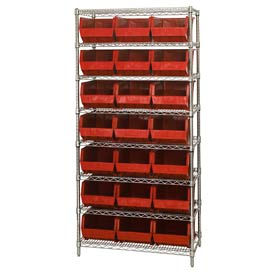 Chrome Wire Shelving With 21 Giant Plastic Stacking Bins Red, 36x18x74