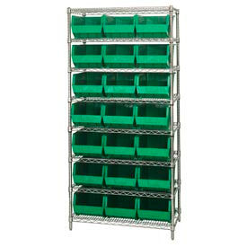 Quantum WR8-255 Chrome Wire Shelving With 21 Giant Plastic Stacking Bins Green, 36x18x74