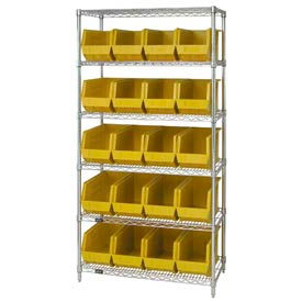 Quantum WR6-265 Chrome Wire Shelving With 20 Giant Plastic Stacking Bins Yellow, 36x18x74