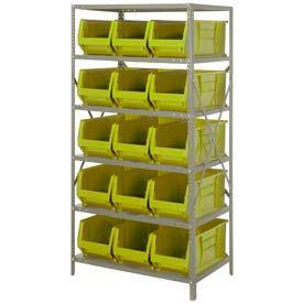 "Quantum 2475-953 Steel Shelving with 15 24""D Hulk Hopper Bins Yellow, 24x36x75"