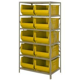 "Quantum 2475-954 Steel Shelving with 10 24""D Hulk Hopper Bins Yellow, 24x36x75"