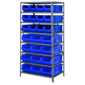 "Quantum 2475-950952 Steel Shelving with 24 24""D Hulk Hopper Bins Blue, 24x36x75"