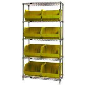 Chrome Wire Shelving With 8 Giant Plastic Stacking Bins Yellow, 36x18x74
