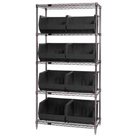 Quantum WR5-270 Chrome Wire Shelving With 8 Giant Plastic Stacking Bins Black, 36x18x74