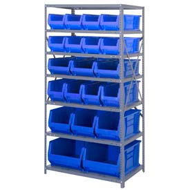 "Quantum 2475-20-MIX Steel Shelving with 20 24""D Hulk Hopper Bins Blue, 24x36x75"