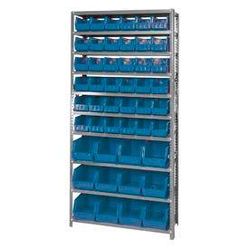 Quantum QSBU-230240 Steel Shelving With 48 Giant Stacking Bins Blue, 12x36x75