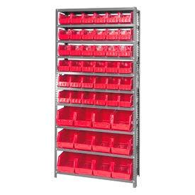 Quantum QSBU-230240 Steel Shelving With 48 Giant Stacking Bins Red, 12x36x75