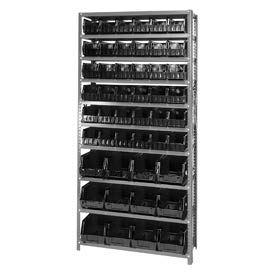 Quantum QSBU-230240 Steel Shelving With 48 Giant Stacking Bins Black, 12x36x75