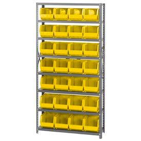 Quantum QSBU-239 Steel Shelving With 28 Giant Stacking Bins Yellow, 12x36x75