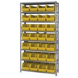 Quantum QSBU-240 Steel Shelving With 28 Giant Stacking Bins Yellow, 12x36x75