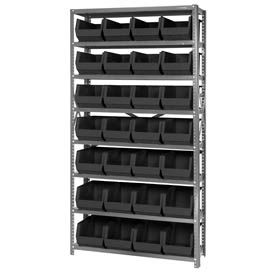 12X36X75 Steel Shelving With 28 Giant Stacking Bins Black