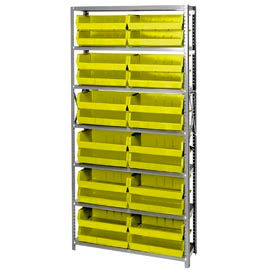 Quantum QSBU-245 Steel Shelving With 24 Giant Stacking Bins Yellow, 12x36x75