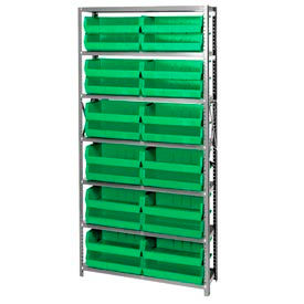 Quantum QSBU-245 Steel Shelving With 24 Giant Stacking Bins Green, 12x36x75