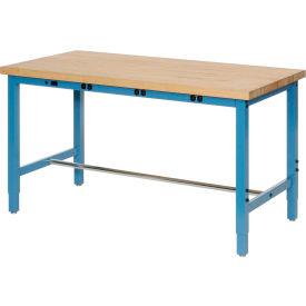 "96""W x 30""D Production Workbench with Power Apron - Maple Butcher Block Square Edge - Blue"