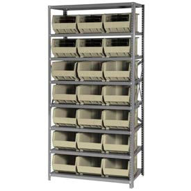 Quantum QSBU-255 Steel Shelving With 21 Giant Stacking Bins Ivory, 18x36x75
