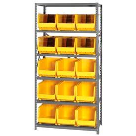 Quantum QSBU-260 Steel Shelving With 15 Giant Stacking Bins Yellow, 18x36x75