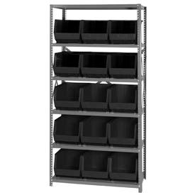 18X36X75 Steel Shelving With 15 Giant Stacking Bins Black