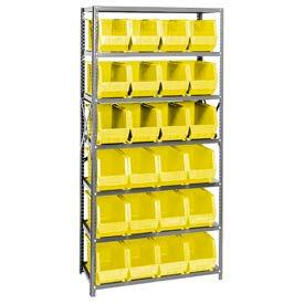 Quantum QSBU-265 Steel Shelving With 24 Giant Stacking Bins Yellow, 18x36x75