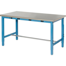 """72""""W x 30""""D Production Workbench with Power Apron - Stainless Steel Square Edge - Blue"""
