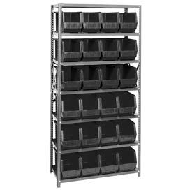 18X36X75 Steel Shelving With 24 Giant Stacking Bins Black