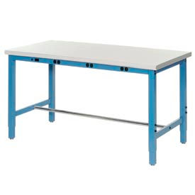 """72""""W x 30""""D Production Workbench with Power Apron - Plastic Laminate Safety Edge - Blue"""