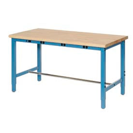 """60""""W x 36""""D Production Workbench with Power Apron - Maple Butcher Block Safety Edge - Blue"""