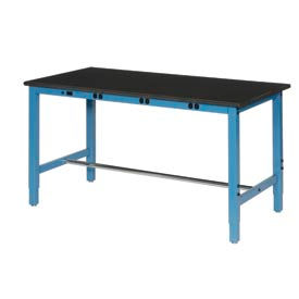"72""W x 36""D Production Workbench with Power Apron - Phenolic Resin Safety Edge - Blue"