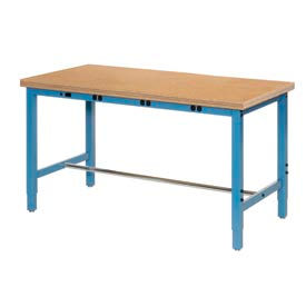 """60""""W x 30""""D Production Workbench with Power Apron - Shop Top Safety Edge - Blue"""