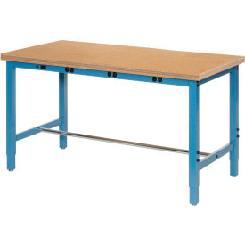 "96""W x 36""D Production Workbench with Power Apron - Shop Top Square Edge - Blue"