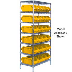 Quantum W7-18-26 Chrome Wire Shelving With 26 QuickPick Double Open Bins Yellow, 18x36x74