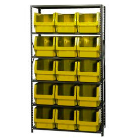 Quantum MSU-533 Steel Shelving With 15 Magnum Giant Hopper Bins Yellow, 18x42x75
