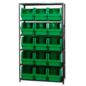 Quantum MSU-533 Steel Shelving With 15 Magnum Giant Hopper Bins Green, 18x42x75