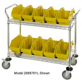 "Quantum WRC2-1836-1265 Chrome Wire Mobile Cart With 10 QuickPick Double Open Bins Yellow 36""x18""x38"""