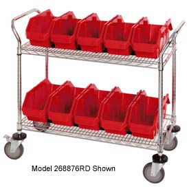 """Quantum WRC2-1836-1265 Chrome Wire Mobile Cart With 10 QuickPick Double Open Bins Red, 36""""x18""""x38"""""""