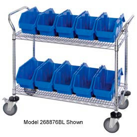 "Quantum WRC3-1836-1265 Chrome Wire Mobile Cart With 15 QuickPick Double Open Bins Blue, 36""x18""x38"""