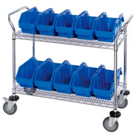 "Quantum WRC2-1836-1867 Chrome Wire Mobile Cart With 10 QuickPick Double Open Bins Blue, 36""x18""x38"""