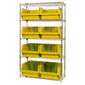 Quantum WR5-543 Chrome Shelving With 8 Magnum Giant Hopper Bins Yellow, 18x42x74