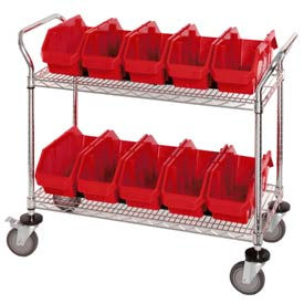"""Quantum WRC2-1836-1867 Chrome Wire Mobile Cart With 10 QuickPick Double Open Bins Red, 36""""x18""""x38"""""""