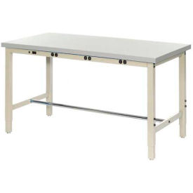 """72""""W x 36""""D Production Workbench with Power Apron - Plastic Laminate Square Edge - Tan"""