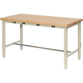 """72""""W x 36""""D Production Workbench with Power Apron - Maple Butcher Block Square Edge - Tan"""