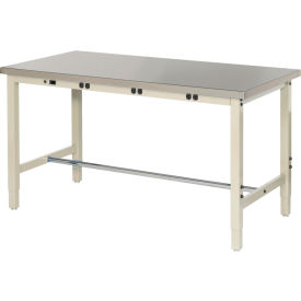 """72""""W x 30""""D Production Workbench with Power Apron - Stainless Steel Square Edge - Tan"""