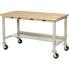 """72""""W x 30""""D Mobile Production Workbench with Power Apron - Maple Butcher Block Square Edge -Tan"""