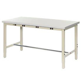 """60""""W x 36""""D Production Workbench with Power Apron - Plastic Laminate Safety Edge - Tan"""