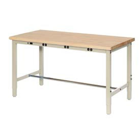 """60""""W x 36""""D Production Workbench with Power Apron - Maple Butcher Block Safety Edge - Tan"""