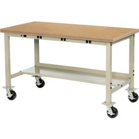 """72""""W x 36""""D Mobile Production Workbench with Power Apron - Shop Top Square Edge - Tan"""