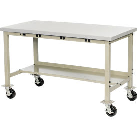 """72""""W x 30""""D Mobile Production Workbench with Power Apron - Stainless Steel Square Edge - Tan"""