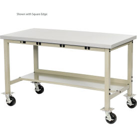 """72""""W x 36""""D Mobile Production Workbench with Power Apron - ESD Safety Edge - Tan"""