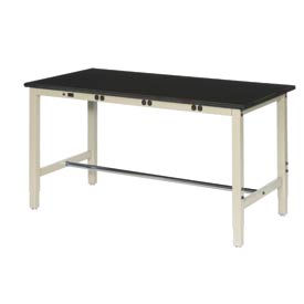 """72""""W x 36""""D Production Workbench with Power Apron - Phenolic Resin Safety Edge - Tan"""